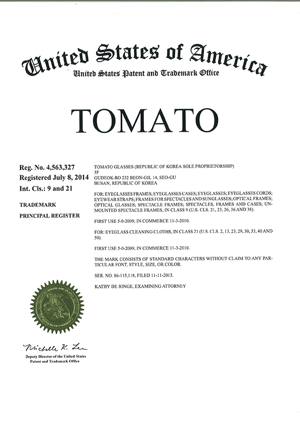 Certificate of Trademark Registration(USA)